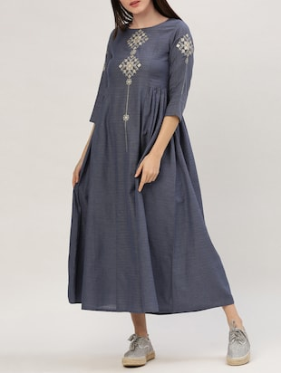 blue cotton maxi dress - 15030286 - Standard Image - 1