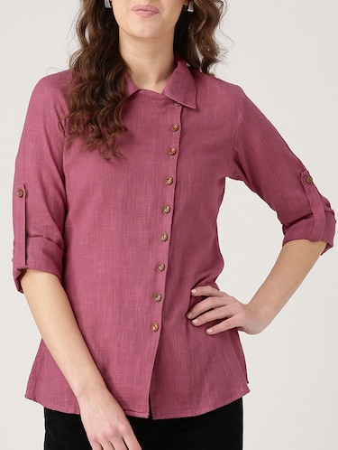 solid pink cotton shirt - 15030388 - Standard Image - 1