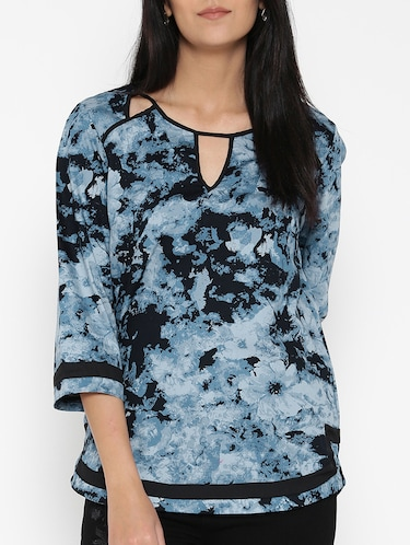 blue printed cotton top - 15030439 - Standard Image - 1
