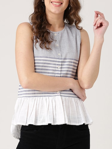grey striped cotton top - 15030443 - Standard Image - 1