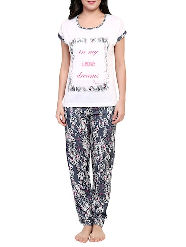 Multicolored printed nightwear pajama set - 15030634 - Standard Image - 1