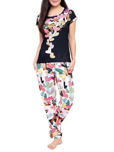 Multicolored printed nightwear pajama set - 15030636 - Standard Image - 1