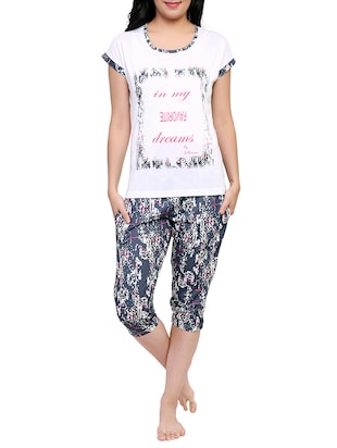 multicolored printed capri nightwear set - 15030653 - Standard Image - 1