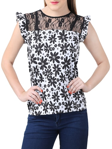 white printed cotton top - 15030801 - Standard Image - 1