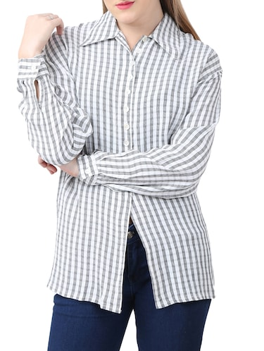 white viscose checkered shirt - 15030810 - Standard Image - 1