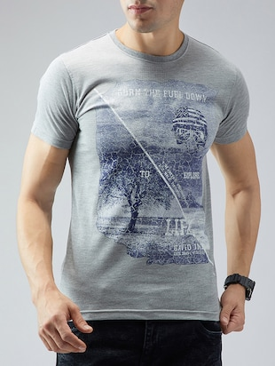 grey cotton front print t-shirt - 15030946 - Standard Image - 1