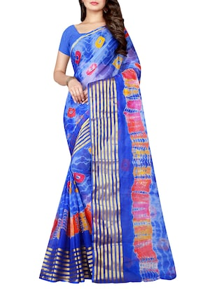 blue chiffon tie & dye saree with blouse - 15032254 - Standard Image - 1