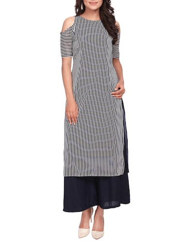nautical striped cold shoulder kurta - 15032333 - Standard Image - 1