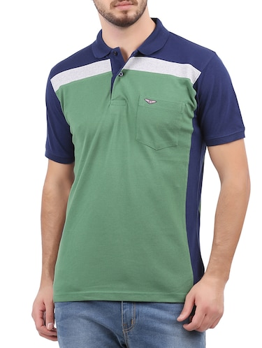 green cotton color block tshirt - 15032369 - Standard Image - 1