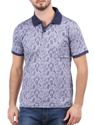 blue cotton all over print tshirt - 15032373 - Standard Image - 1