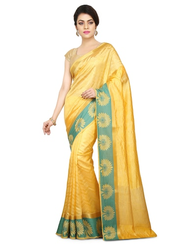 yellow art silk woven saree with blouse - 15032833 - Standard Image - 1