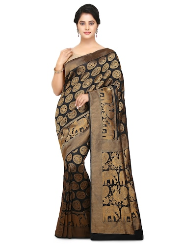black art silk woven saree with blouse - 15032845 - Standard Image - 1