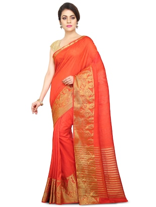 red art silk bordered saree with blouse - 15032851 - Standard Image - 1