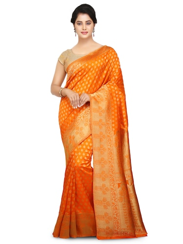 orange art silk kanjivaram saree with blouse - 15032853 - Standard Image - 1