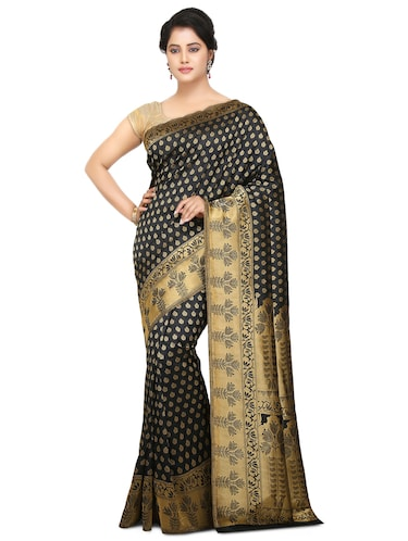 black art silk kanjivaram saree with blouse - 15032854 - Standard Image - 1