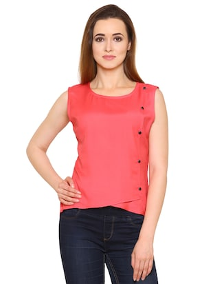 pink rayon wrap top - 15032881 - Standard Image - 1