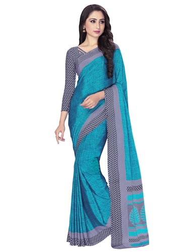 Sea green bordered saree with blouse - 15032925 - Standard Image - 1