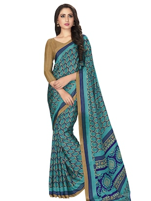 turquoise crepe printed saree with blouse - 15032929 - Standard Image - 1