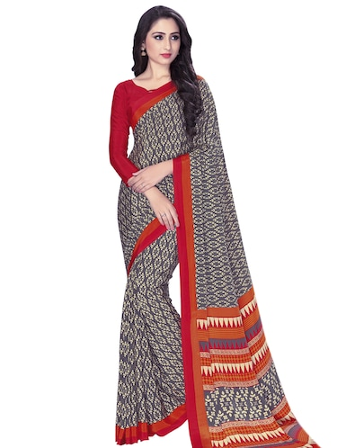 Contrast bordered printed saree with blouse - 15032931 - Standard Image - 1