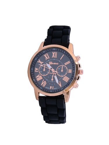 Black Silicone And Metal Strap Women Wrist Watch - 15033193 - Standard Image - 1