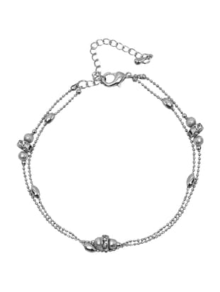 silver crystal anklets and payal - 15033399 - Standard Image - 1