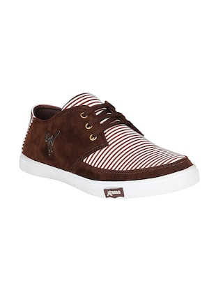 brown leatherette lace up sneaker - 15033422 - Standard Image - 1