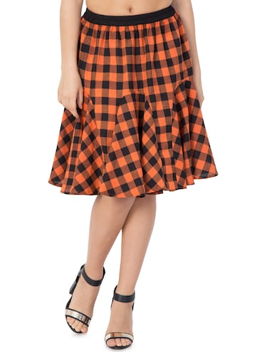 orange checkered cotton flared skirt - 15033458 - Standard Image - 1