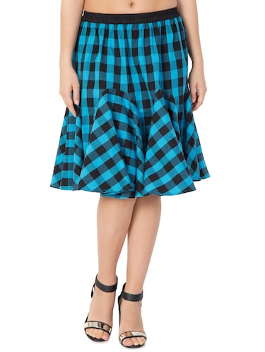 blue checkered cotton flared skirt - 15033459 - Standard Image - 1