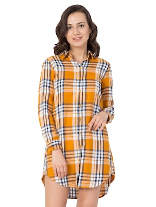 yellow checkered cotton shirt dress - 15033460 - Standard Image - 1