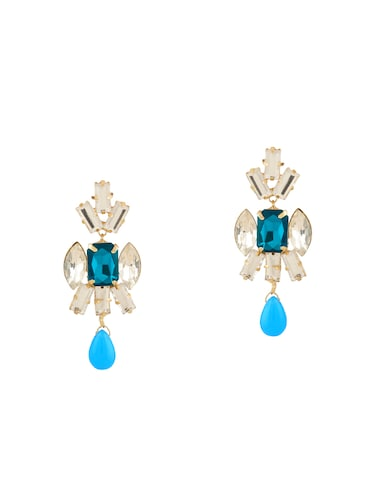 blue colored brass drop earring - 15033464 - Standard Image - 1