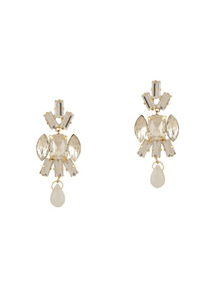white colored brass drop earrings - 15033467 - Standard Image - 1