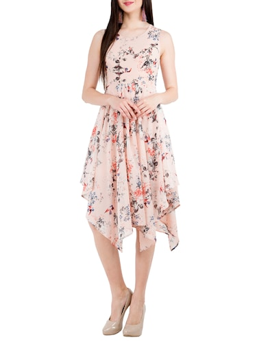 39f6f8f227 Buy Round Neck Floral Asymmetric Dress for Women from Swadesi India for  ₹700 at 53% off