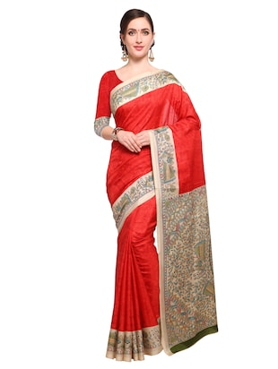 red khadi printed saree with blouse - 15033762 - Standard Image - 1