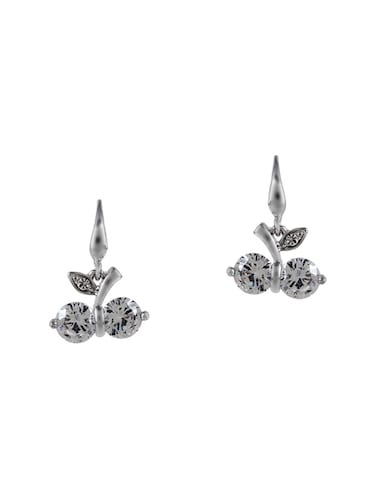 silver metal drop earrings - 15033895 - Standard Image - 1