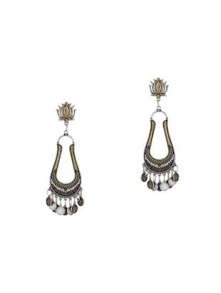 gold metal drop earrings - 15033983 - Standard Image - 1