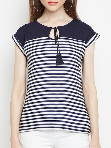 navy blue striped top - 15034194 - Standard Image - 1