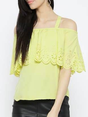 yellow solid cold shoulder top - 15034210 - Standard Image - 1