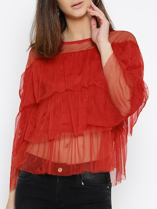 red solid layered top - 15034215 - Standard Image - 1