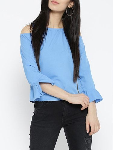 cold shoulder bell sleeved top - 15034225 - Standard Image - 1