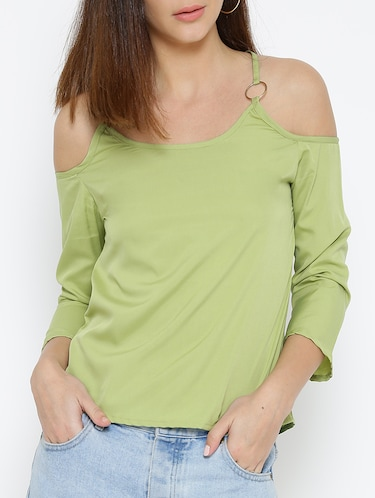 olive green solid cold shoulder top - 15034248 - Standard Image - 1