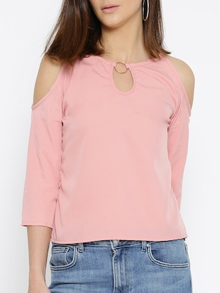 pink solid cold shoulder top - 15034264 - Standard Image - 1