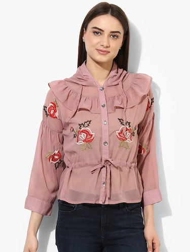 pink cotton embroidered shirt - 15036107 - Standard Image - 1