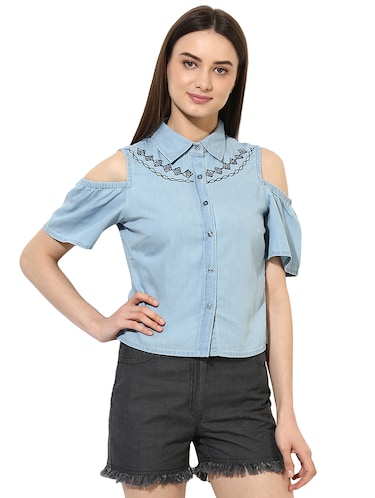 light blue denim cold shoulder shirt - 15036111 - Standard Image - 1