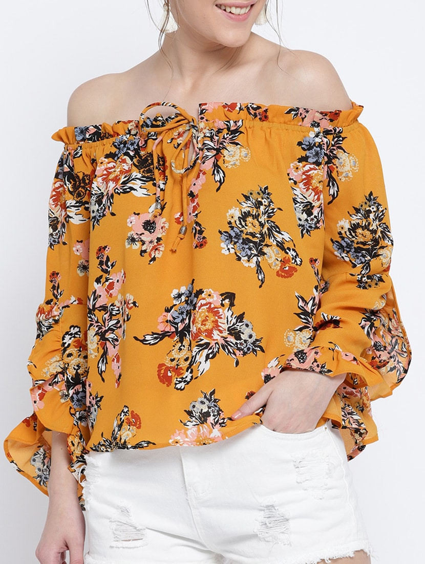 2c28edca44f Buy Yellow Printed Off Shoulder Top for Women from Sera for ₹698 at ...