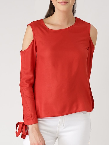 2187653fa83278 Buy Cold Shoulder Tie Up Detail Sleeved Top by Marie Claire - Online ...