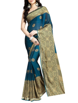 blue printed saree with blouse - 15073140 - Standard Image - 1