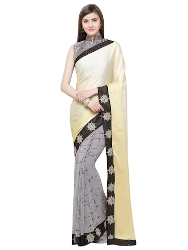 beige satin half and half saree with blouse - 15074366 - Standard Image - 1