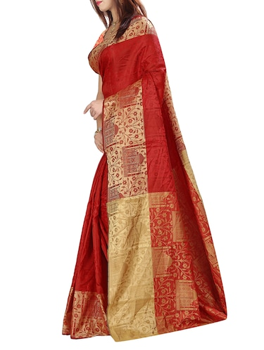 silk jacquard woven saree with blouse - 15076324 - Standard Image - 1