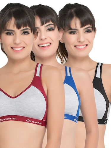 set of 3 grey solid hosery sports bra - 15082349 - Standard Image - 1