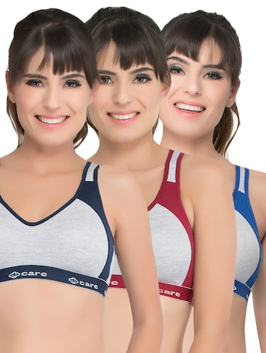 set of 3 grey solid hosery sports bra - 15082356 - Standard Image - 1